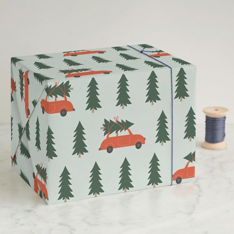 Christmas Tree on a Car Wrapping Paper
