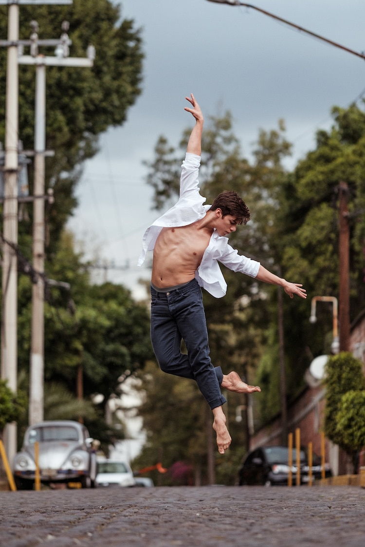 Male Ballet Dancer Jumping in the Streets by Omar Z. Robles