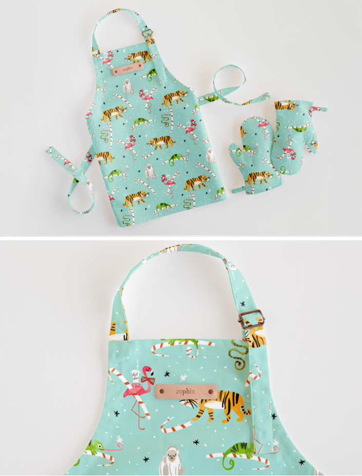 Monogrammed Kids Apron and Oven Mitts