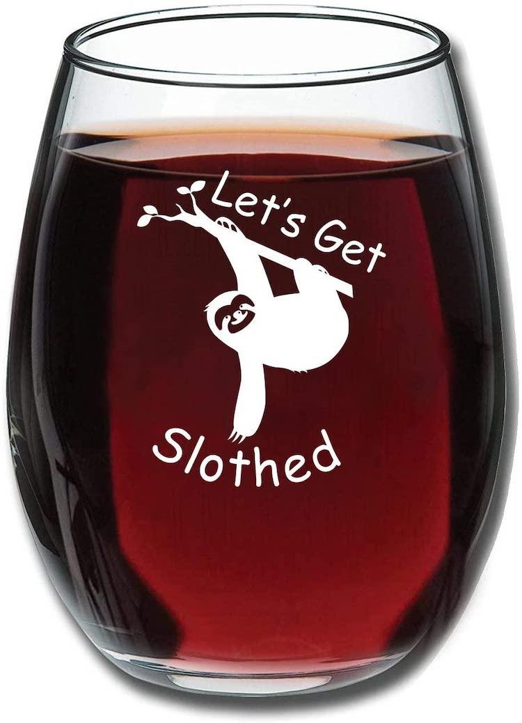 Sloth Wine Glass