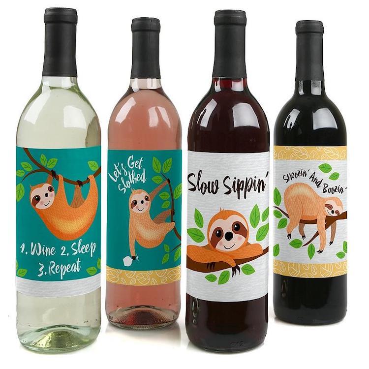 Sloth Wine Bottle Labels