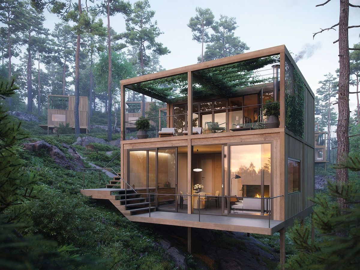 Architects Propose Beautiful Floating Cabins in Norwegian Forest