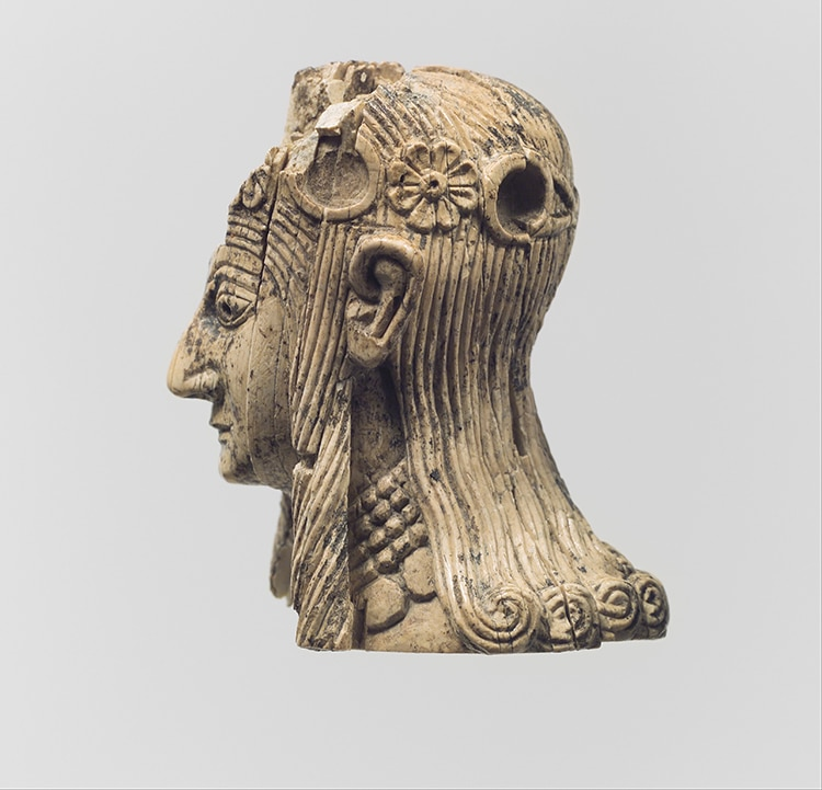 Womans Head Carved in Ivory Ancient Assyrian Art