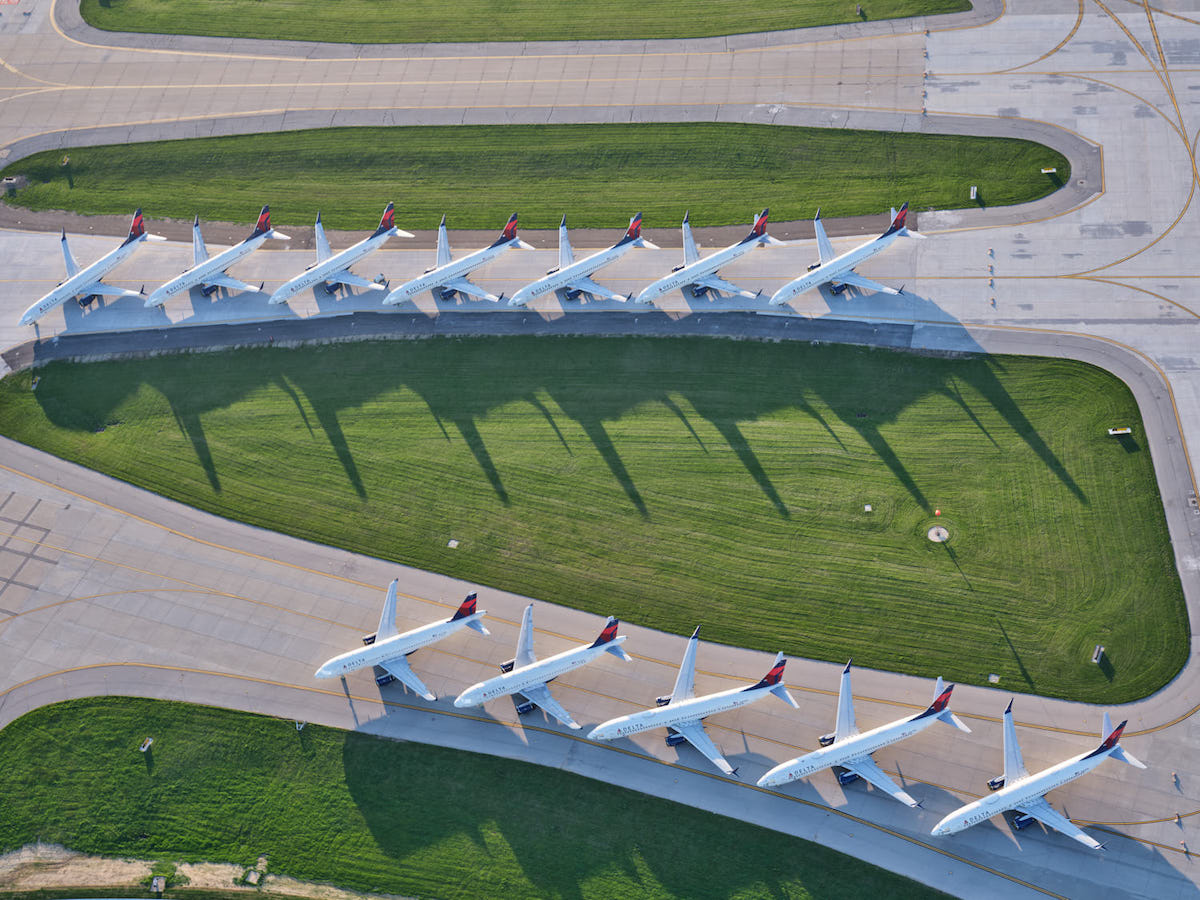 Grounded Airplanes During COVID at Kansas City Airport