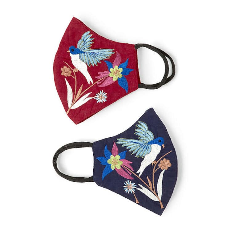 Embroidered Hummingbird Face Mask