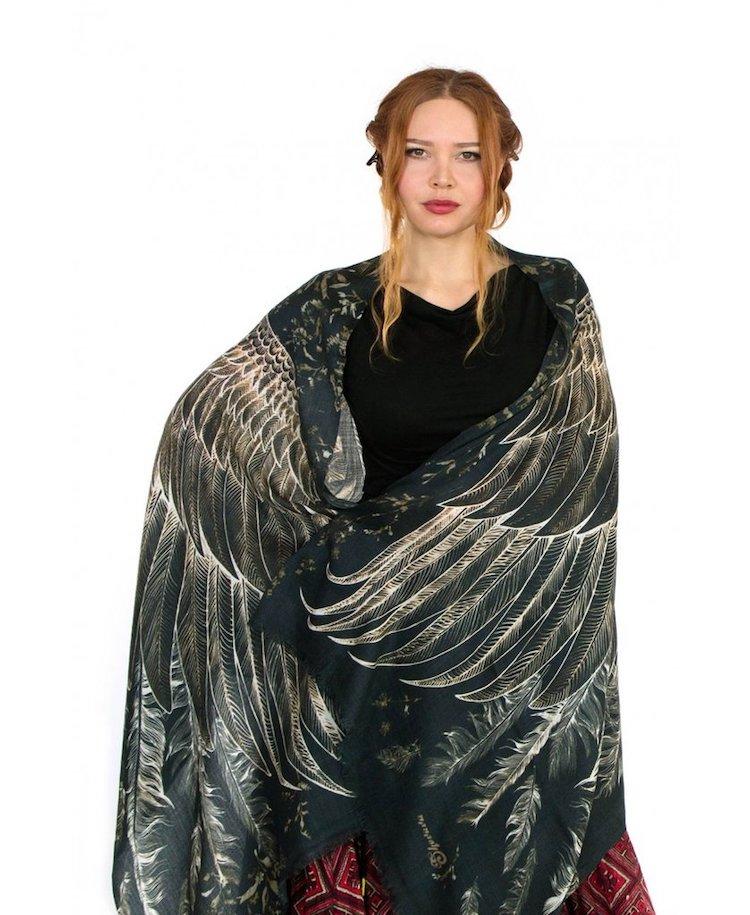 Black Wings Bird Scarf