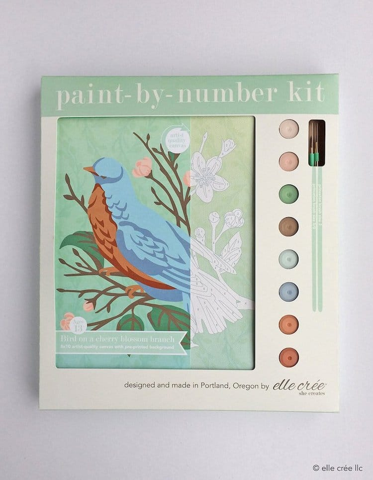 'Bird on a Cherry Blossom Branch' Paint-by-Numbers Kit