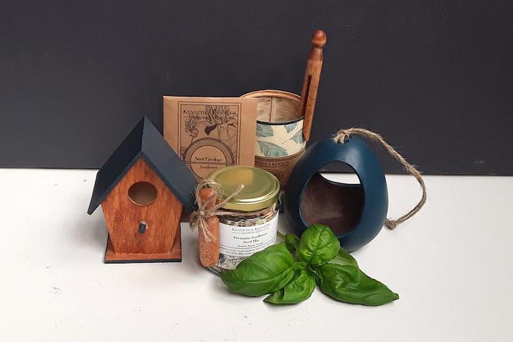 Dark Blue Bird House and Hanging Bird Feeder Gift Set