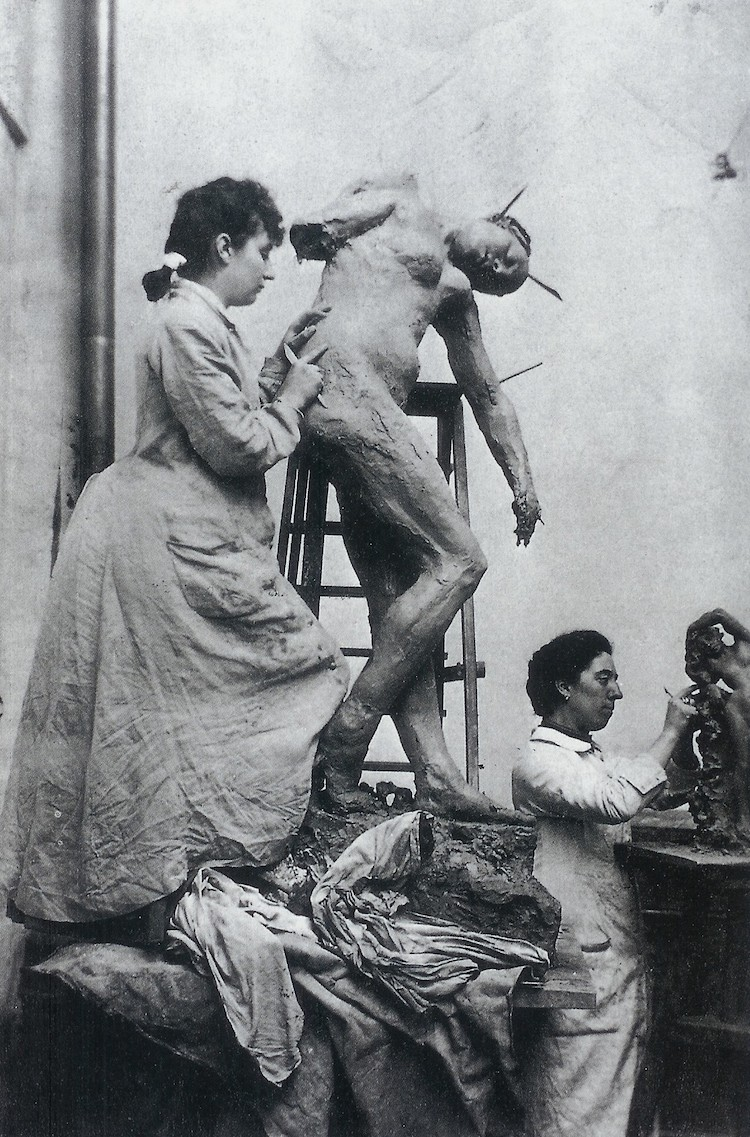 Camille Claudel Sculpting In Her Studio