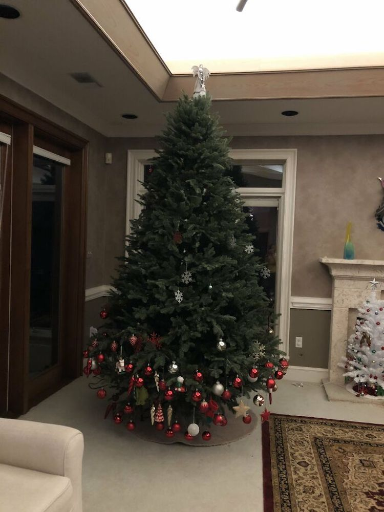 Christmas Tree Half Decorated by Toddler