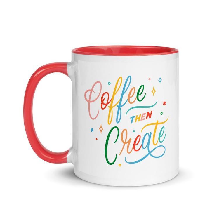 Coffee Then Create Red Mug