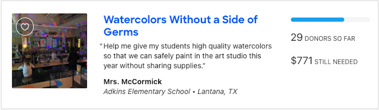Asking for Art Supplies on Donors Choose