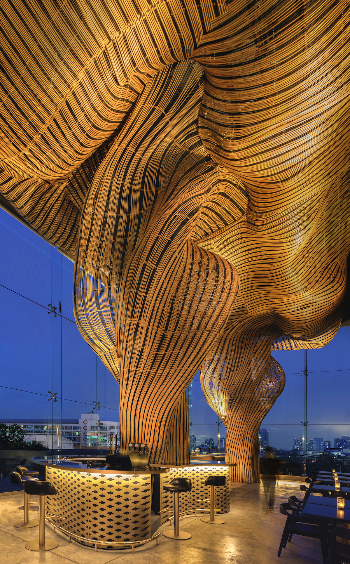 Architects Blend Technology and Craftsmanship to Create These Treelike Rattan Columns
