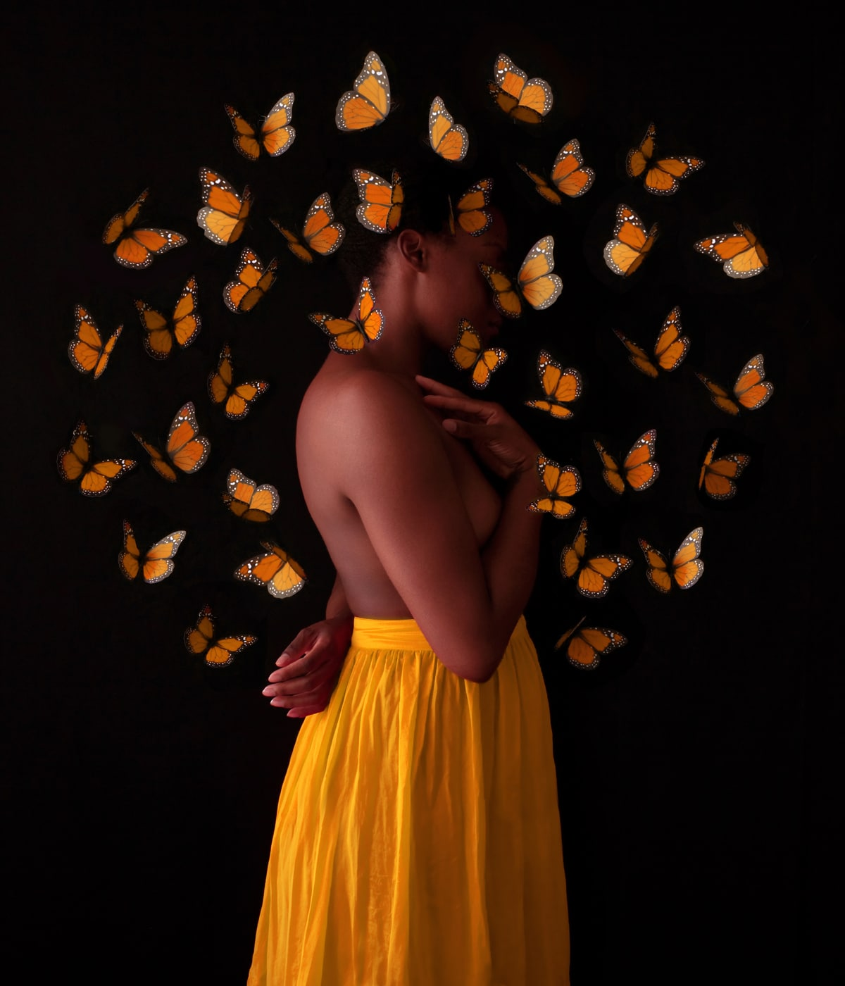 Girl Surrounded by Butterflied by Fares Micue