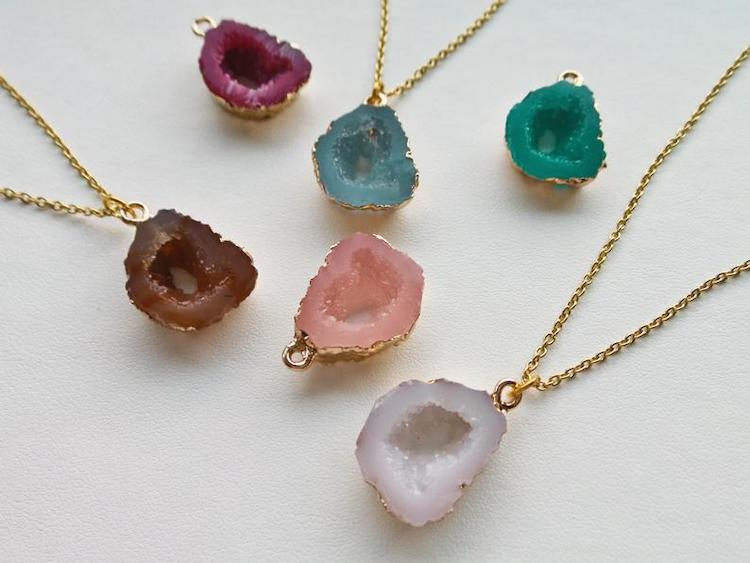 Geode Rock Charm Necklace
