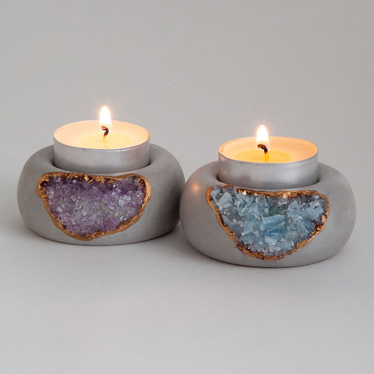 Geode Crystal Tea Light Holder