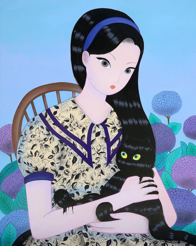 Paintings of Women Holding Cats by Jang Koal