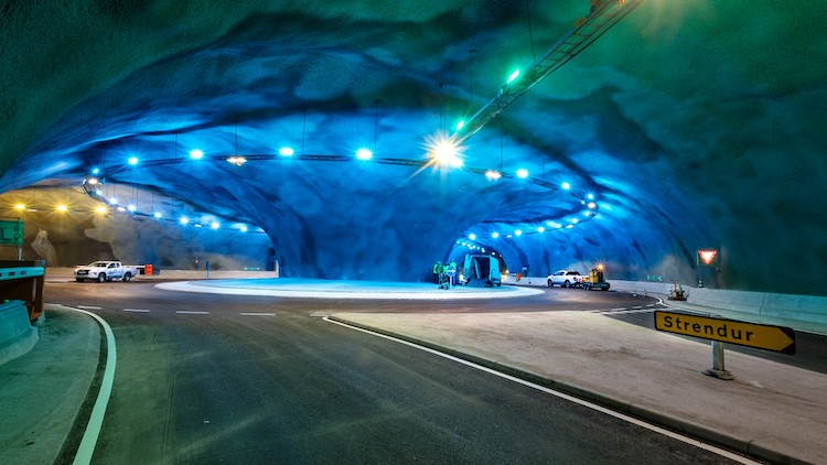 A Massive Jellyfish Shaped Roundabout Guides Traffic in this Underground Tunnel