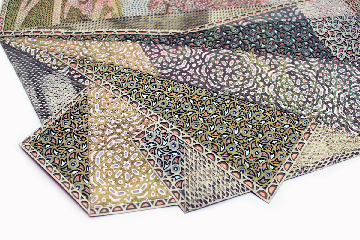 Corner Detail of Cut Newspaper Artwork by Myriam Dion