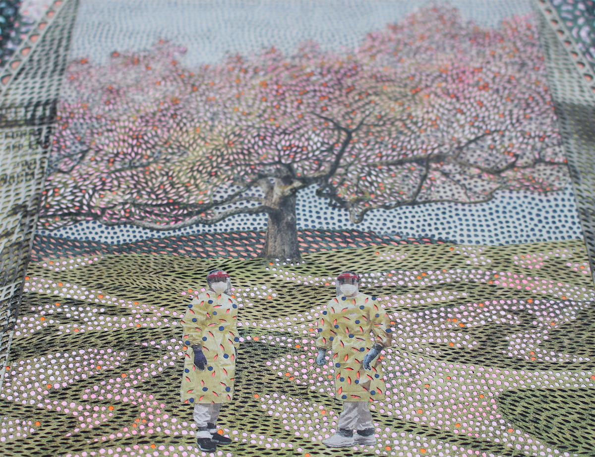 Up Close Myriam Dion Cut Newspaper Artwork