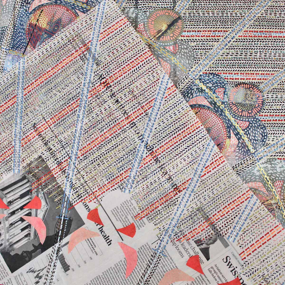 Up Close View of Newspaper Collage Artwork by Myriam Dion