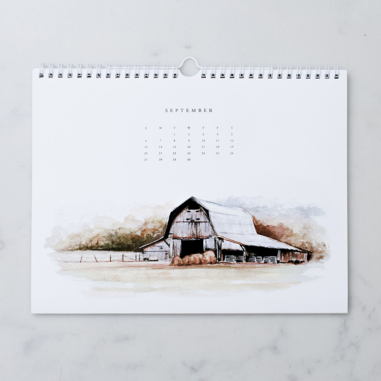 Open Spaces Watercolor Calendar