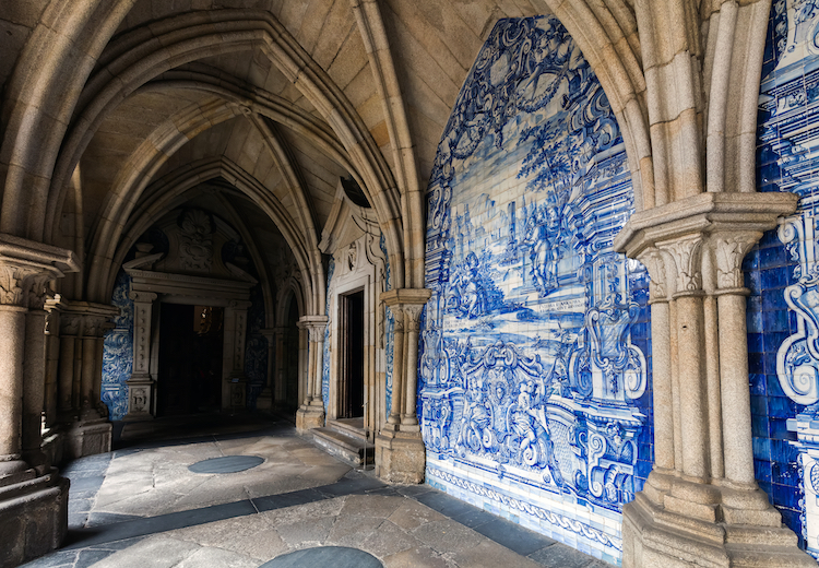 Azulejo Panels on Cloister Walls Inside Porto Cathedral Portugal