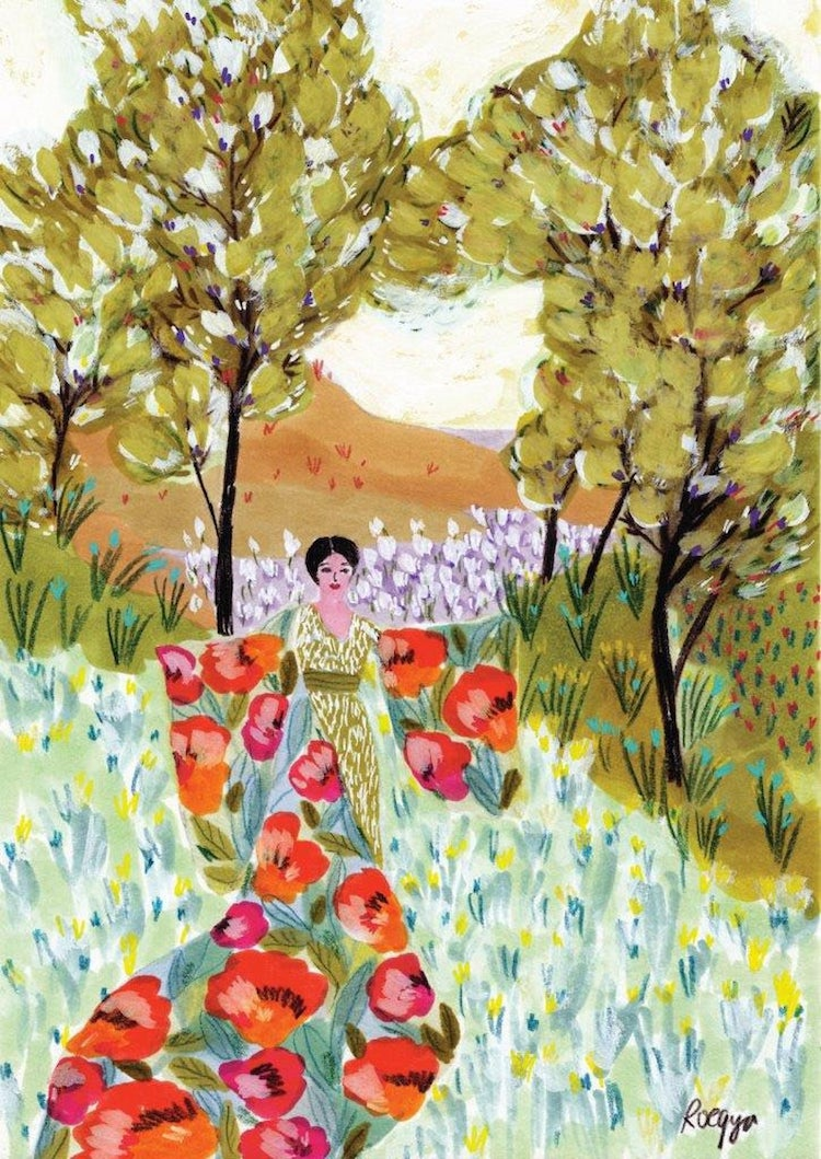 Female Figure and Bold Floral Prints Artwork by Roeqiya Fris