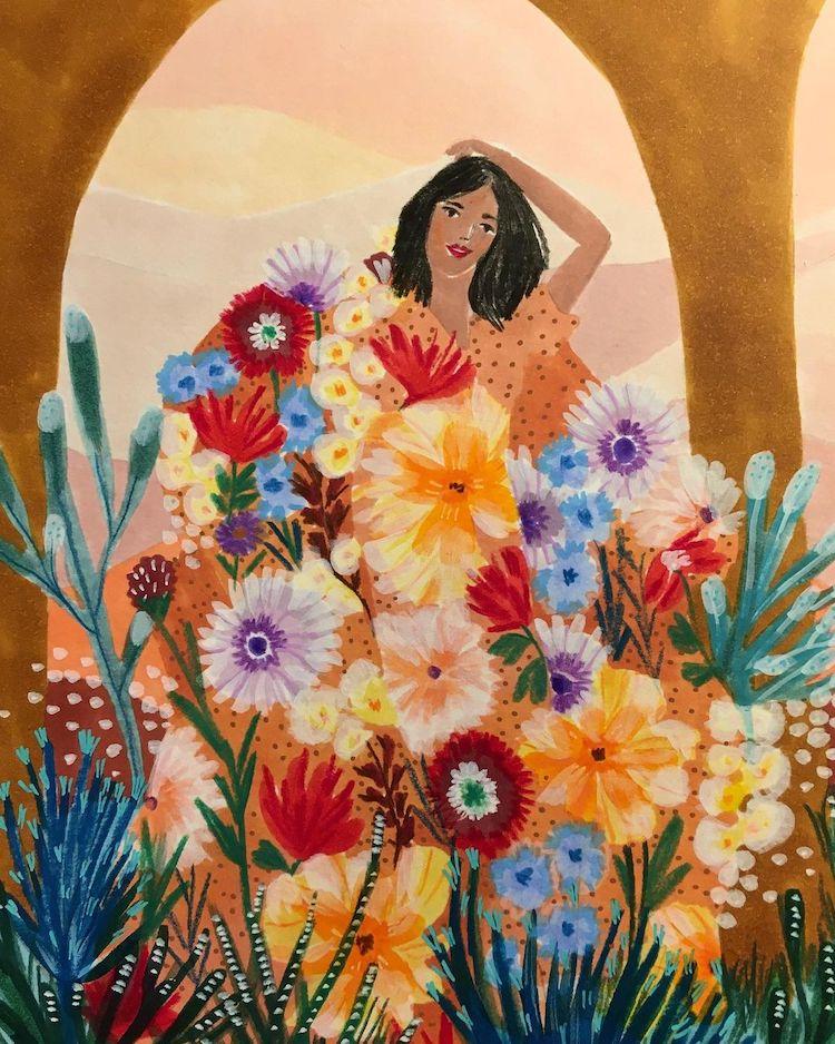 Woman Behind Flowers