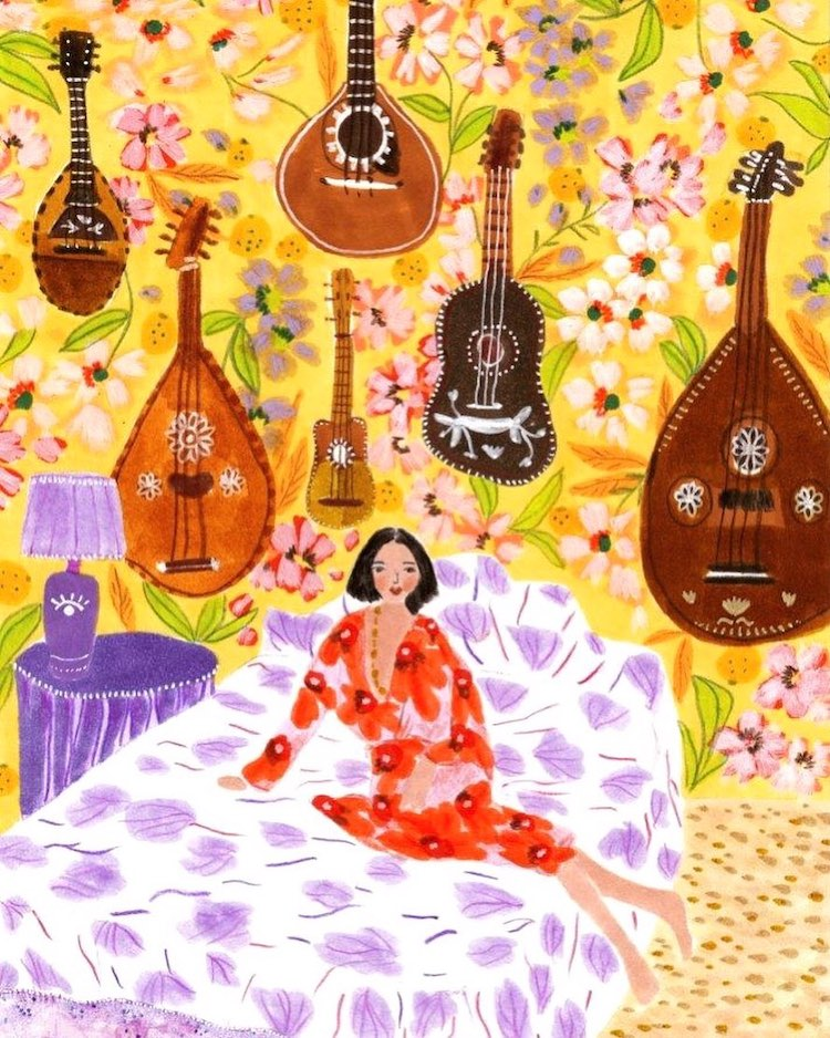 Woman Sitting on a Bed With Guitars on Wall