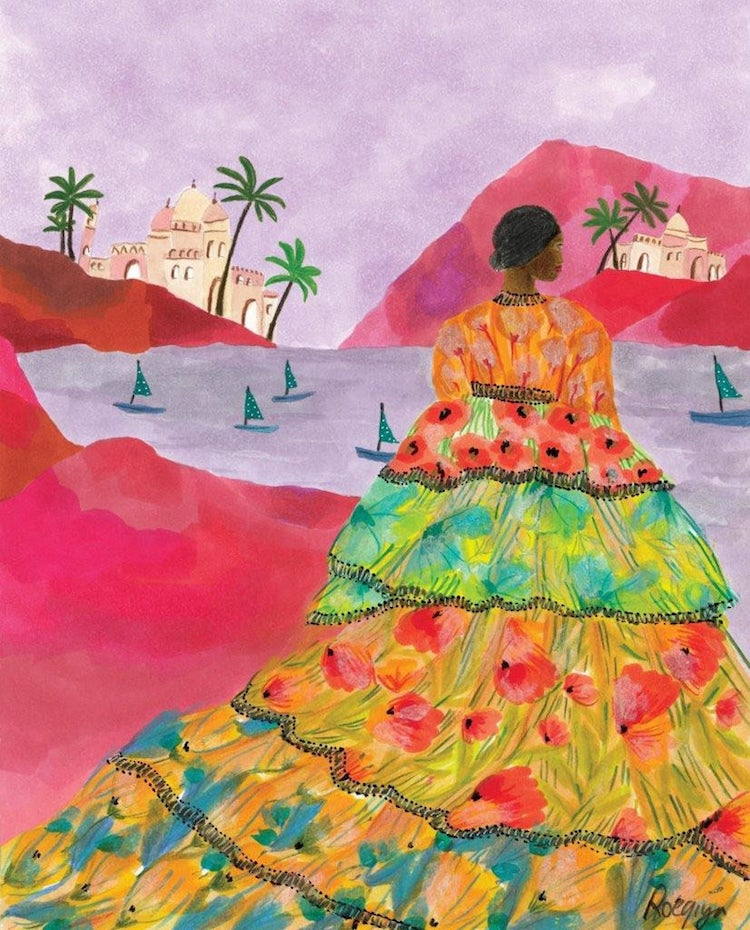 Feminine Figure in Floral Patterned Dress Painting by Roeqiya Fris