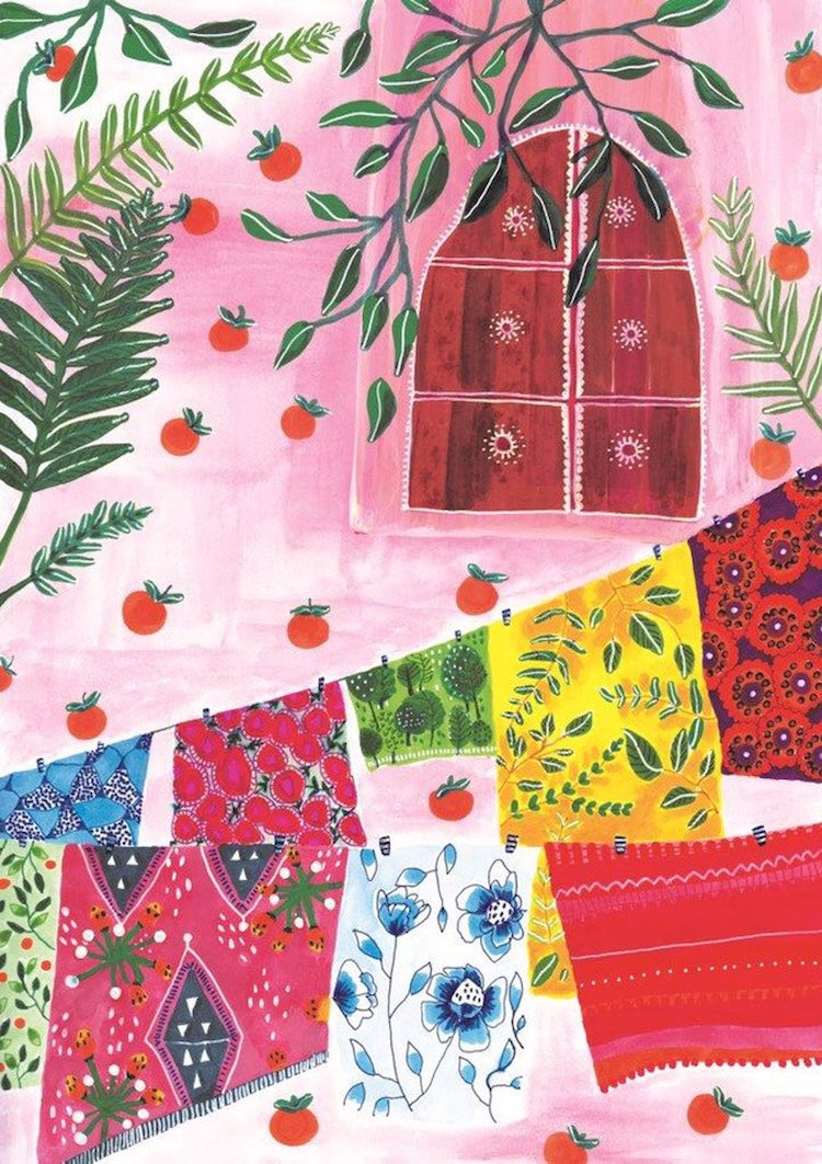 Floral Motifs and Bright Color Painting by Roeqiya Fris