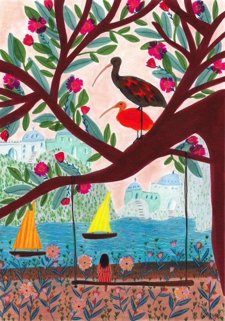 Roeqiya Fris Illustration With Lush Landscape