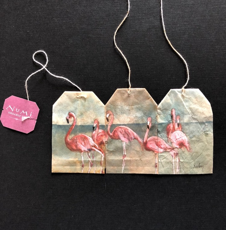 Flamingos Painted on Tea Bags by Ruby Silvious