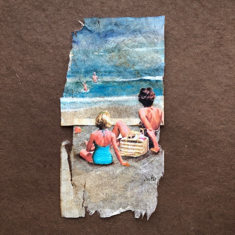 Women at the Beach Tea Bag Painting by Ruby Silvious