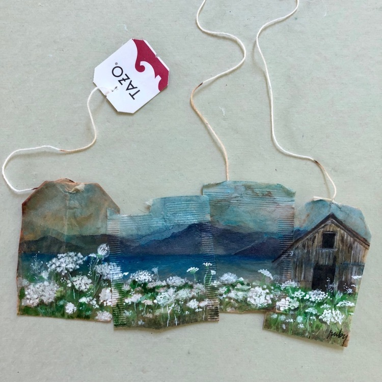 Combined Tea Bag Landscape Painting by Ruby Silvious