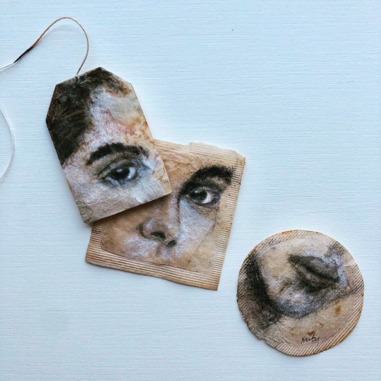 Painting on a Tea Bag by Ruby Silvious
