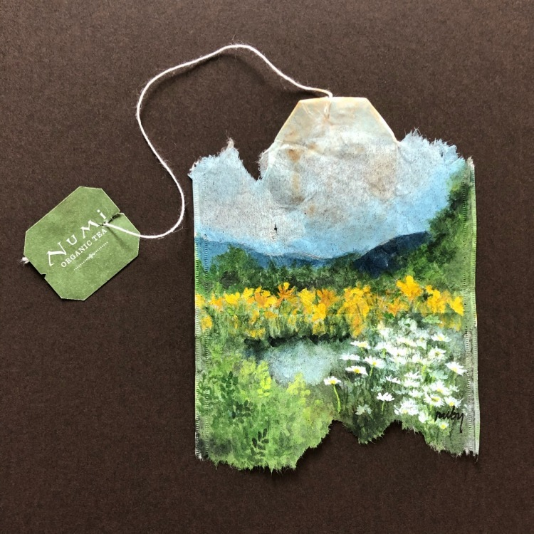 Ruby Silvious Landscape Tea Bag Painting