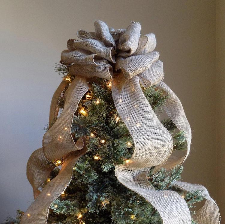 Burlap Bow Tree Topper - 20+ Awesome Items to Complete Your Rustic Christmas Aesthetic