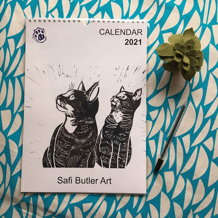 Cat Lino Print Calendar 2021 Year