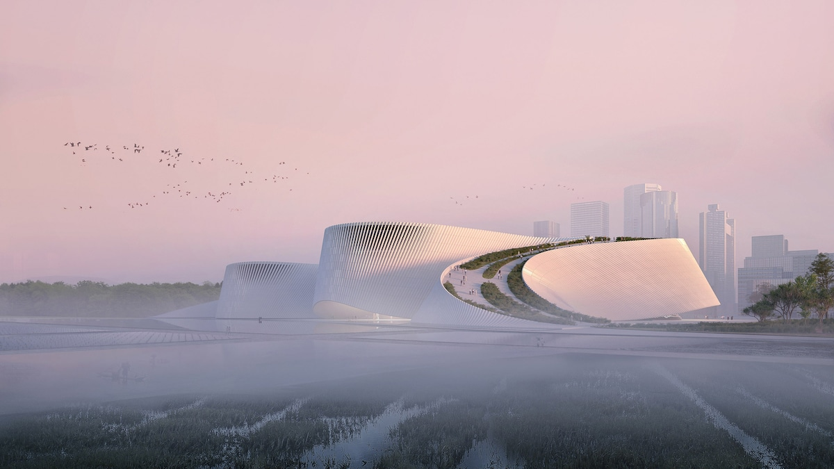 "The Shenzhen Natural History Museum Is Designed To ""Emerge"" From the River"