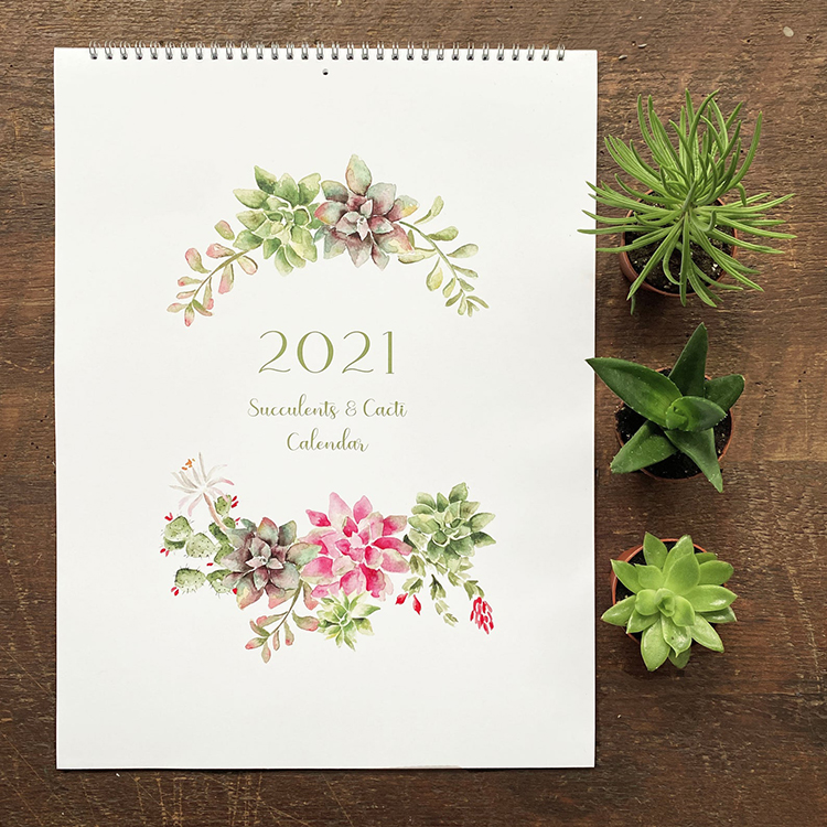 Succulent Cacti Watercolor Calendar