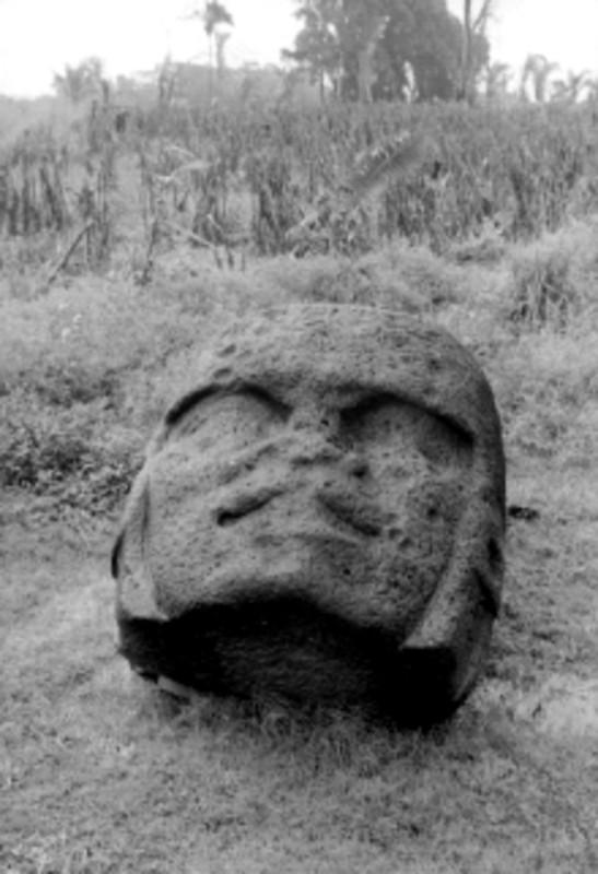Cabeza monumental Olmeca en una zona arqueológica