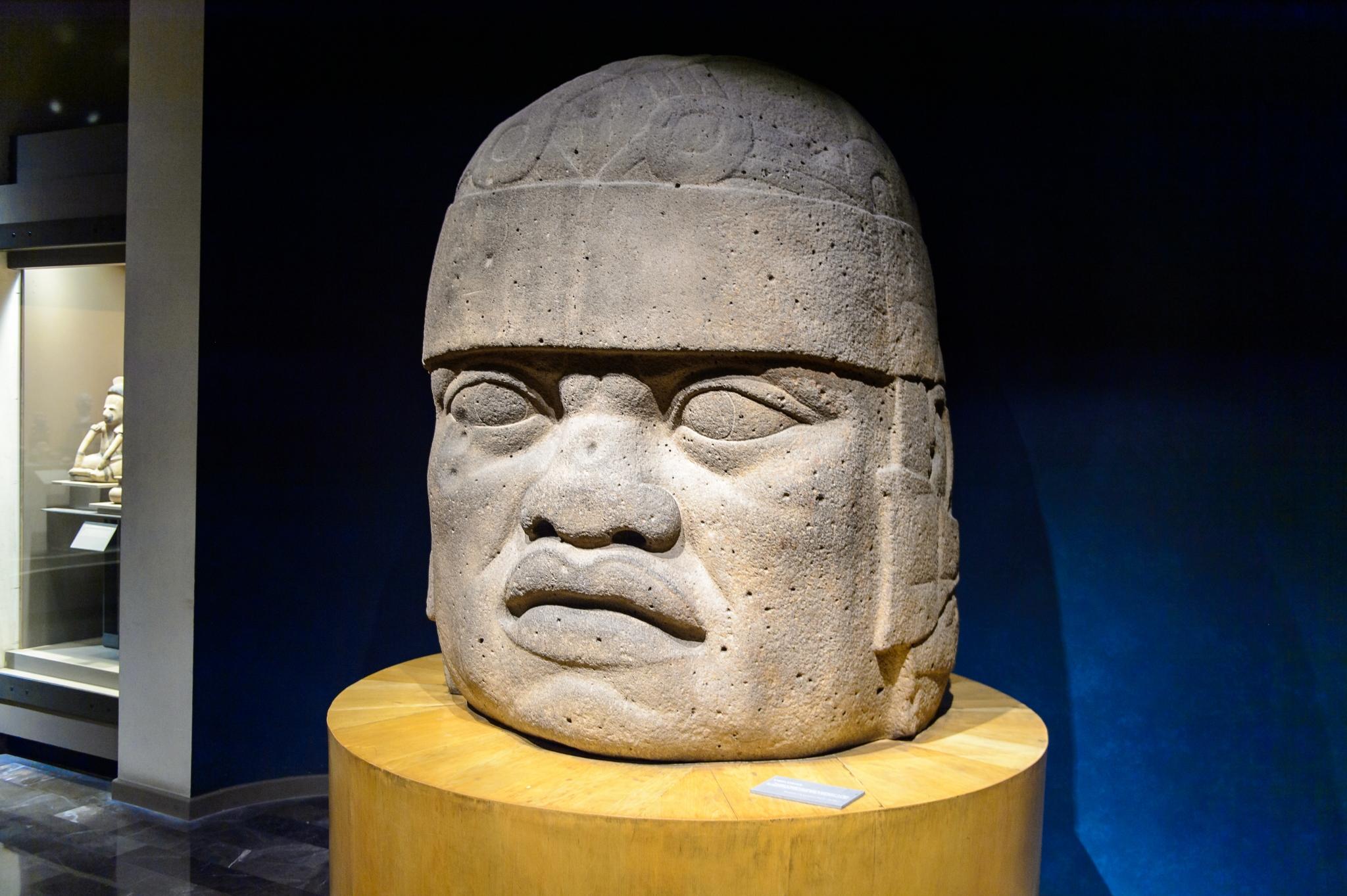 Cabeza olmeca en el Museo Nacional de Antropología