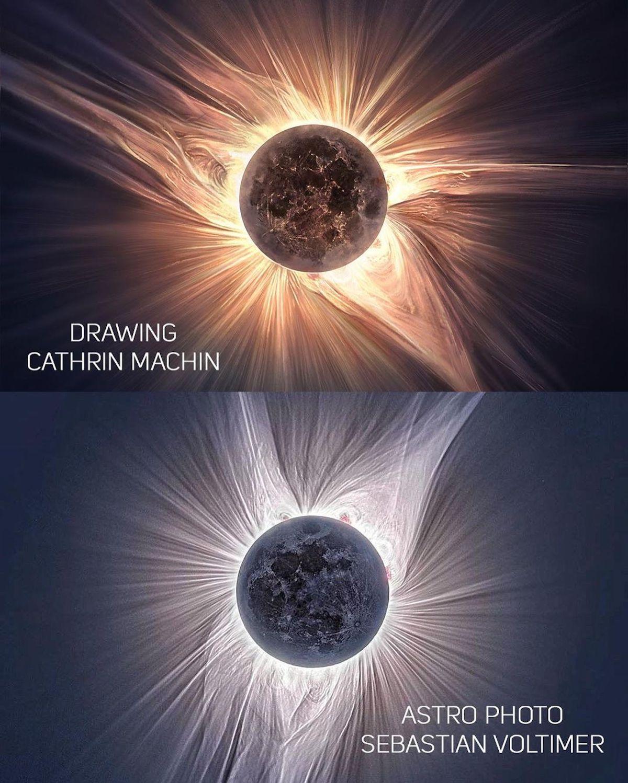 pintura digital de eclipse solar por Cathrin Machin