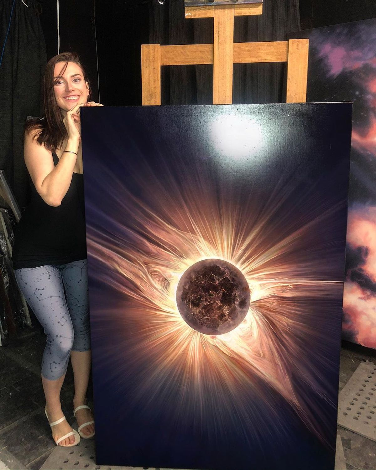 Solar Eclipse Painting by Cathrin Machin