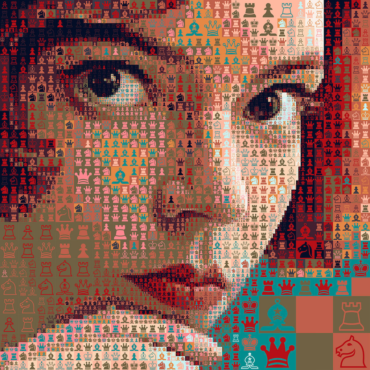 Mosaic Portrait of The Queen's Gambit by Charis Tsevis