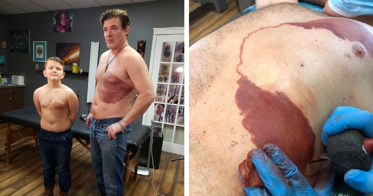 Papá se hace un tatuaje idéntico a la mancha de nacimiento de su hijo