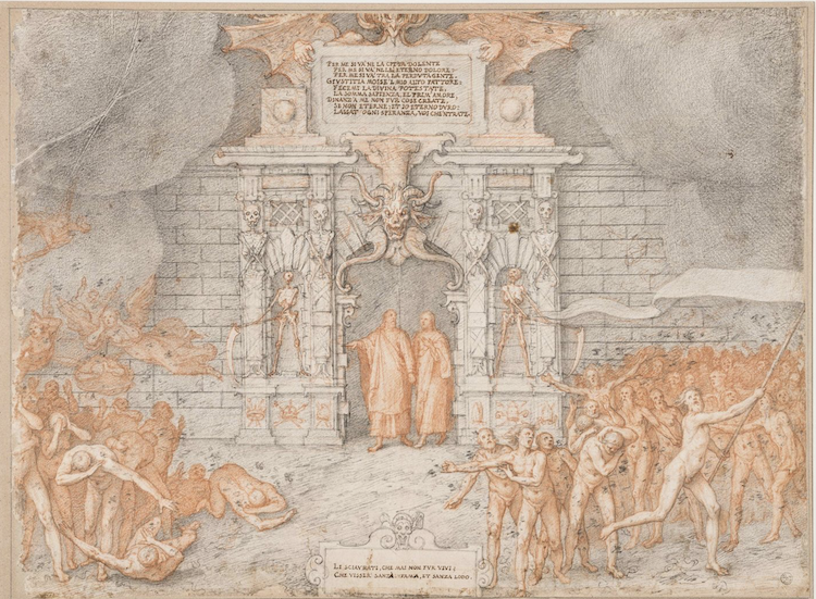 Drawing Illustrating Dante's 'Divine Comedy' 'Inferno' Canto III