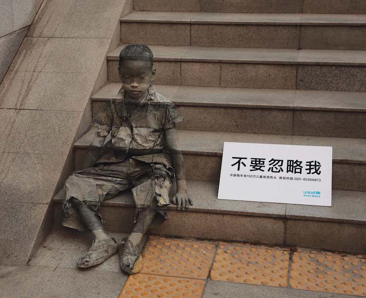 Invisible Poverty Boy on Stairs